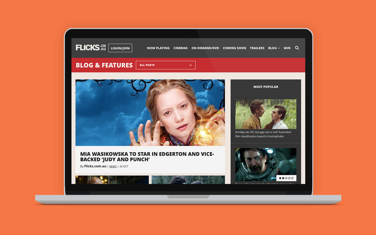 Flicks - blog desktop