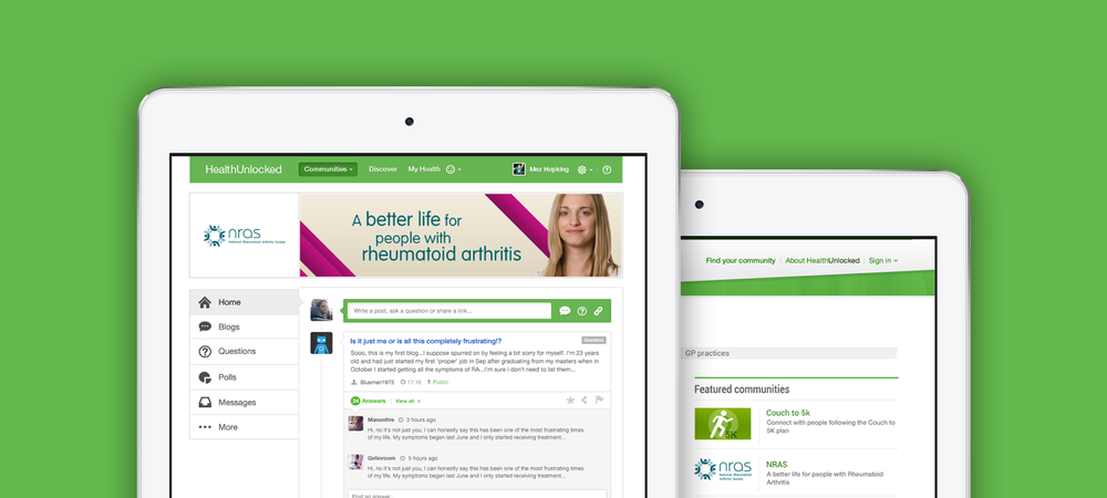 HealthUnlocked - social in tablets