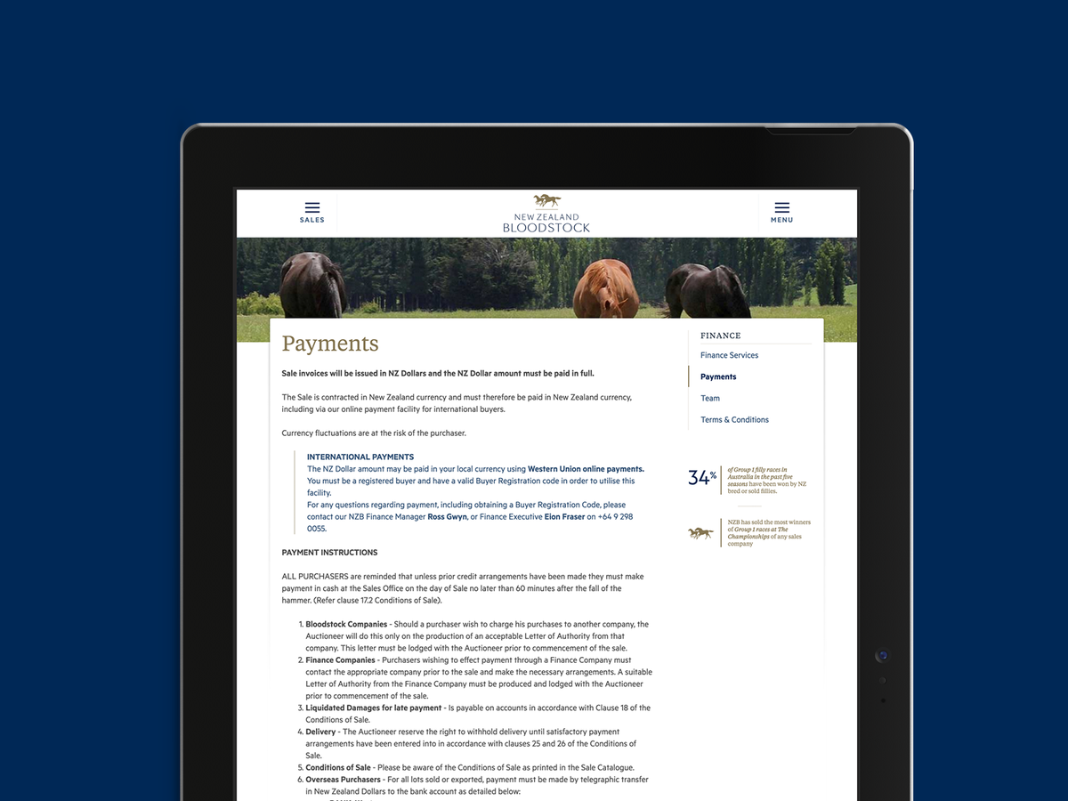 New Zealand Bloodstock - homepage tablet