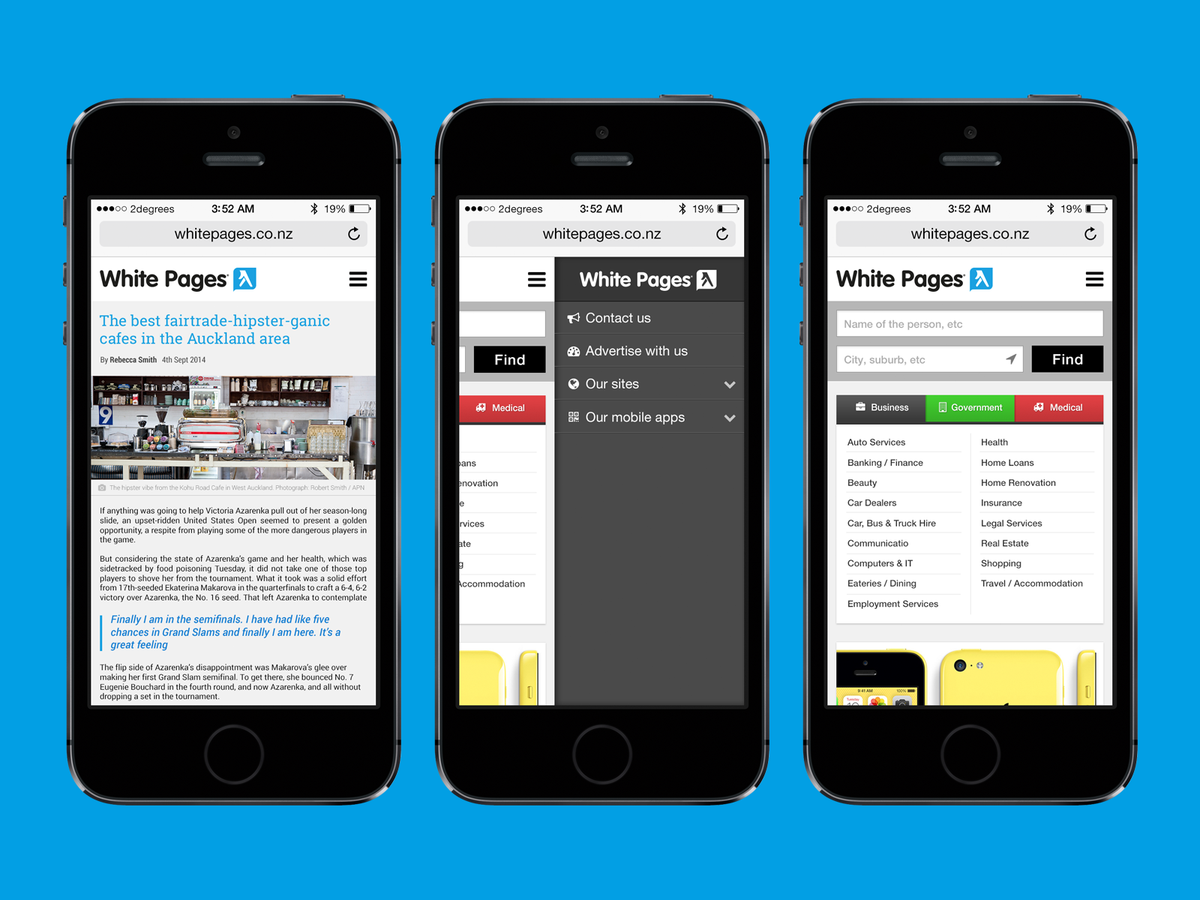 White Pages - three mobile views
