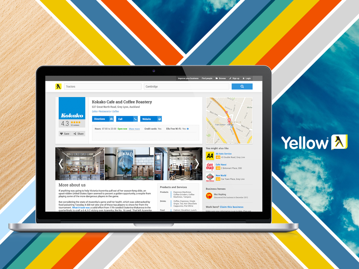 Yellow NZ - desktop showcase